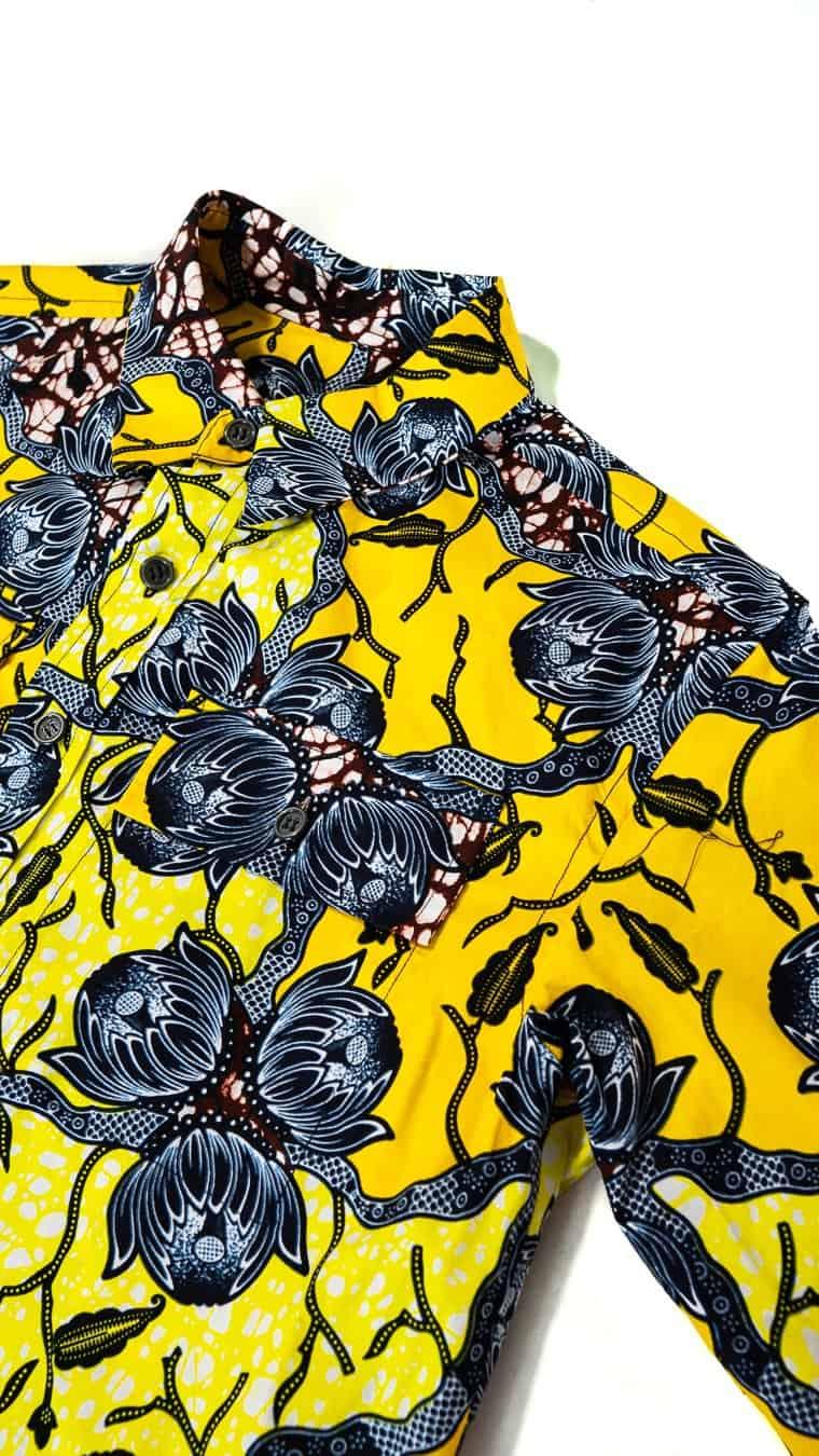 Chemise Aliou oversize en wax africain motif fleur