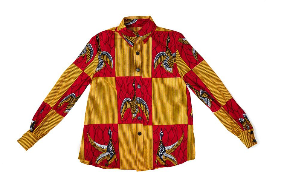 Chemise femme Angela Davis en wax africain motif oiseaux