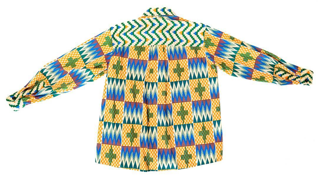 Chemise Aliou oversize en wax africain motif kenté